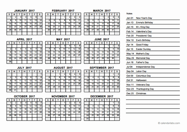 Free 2017 Yearly Calendar Template New 2017 Yearly Calendar Pdf Free Printable Templates