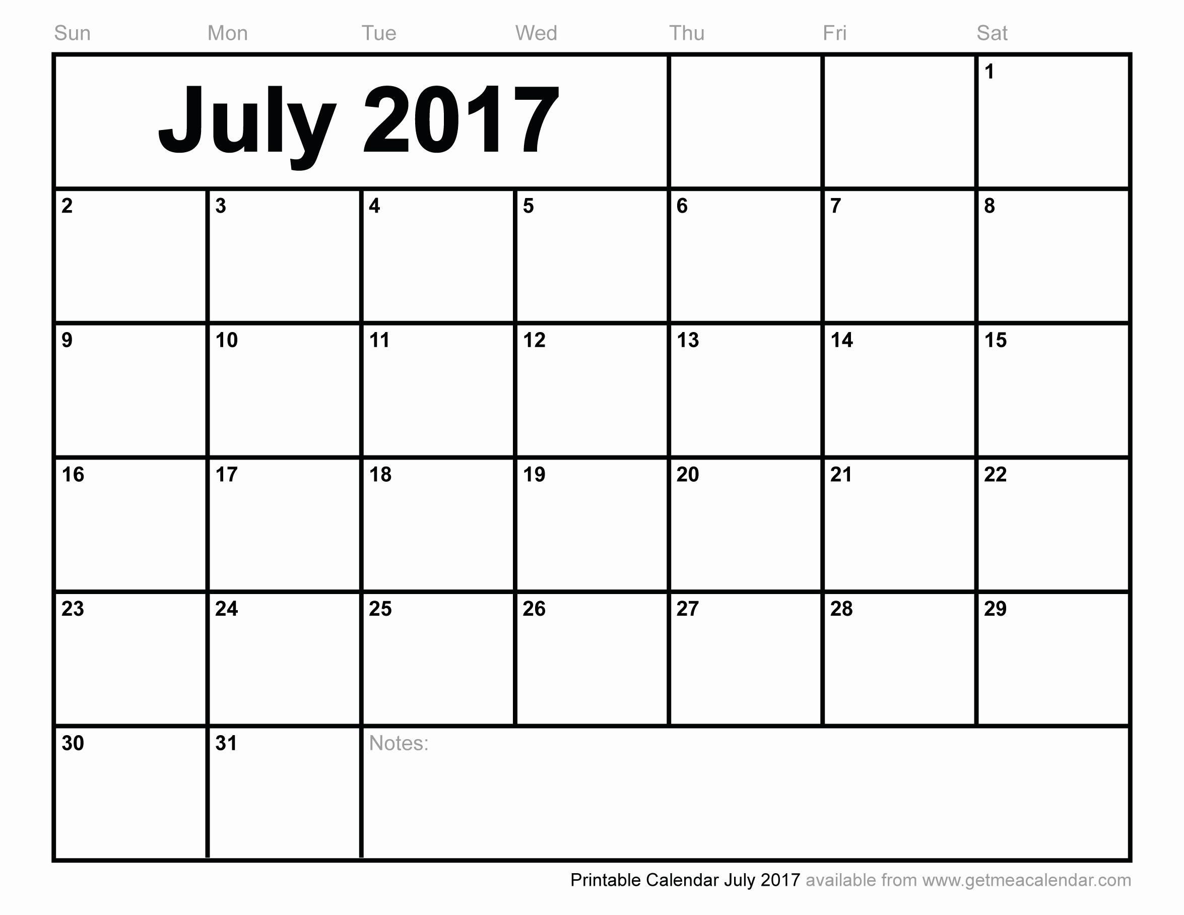 Free 2017 Yearly Calendar Template Unique Blank July 2017 Calendar