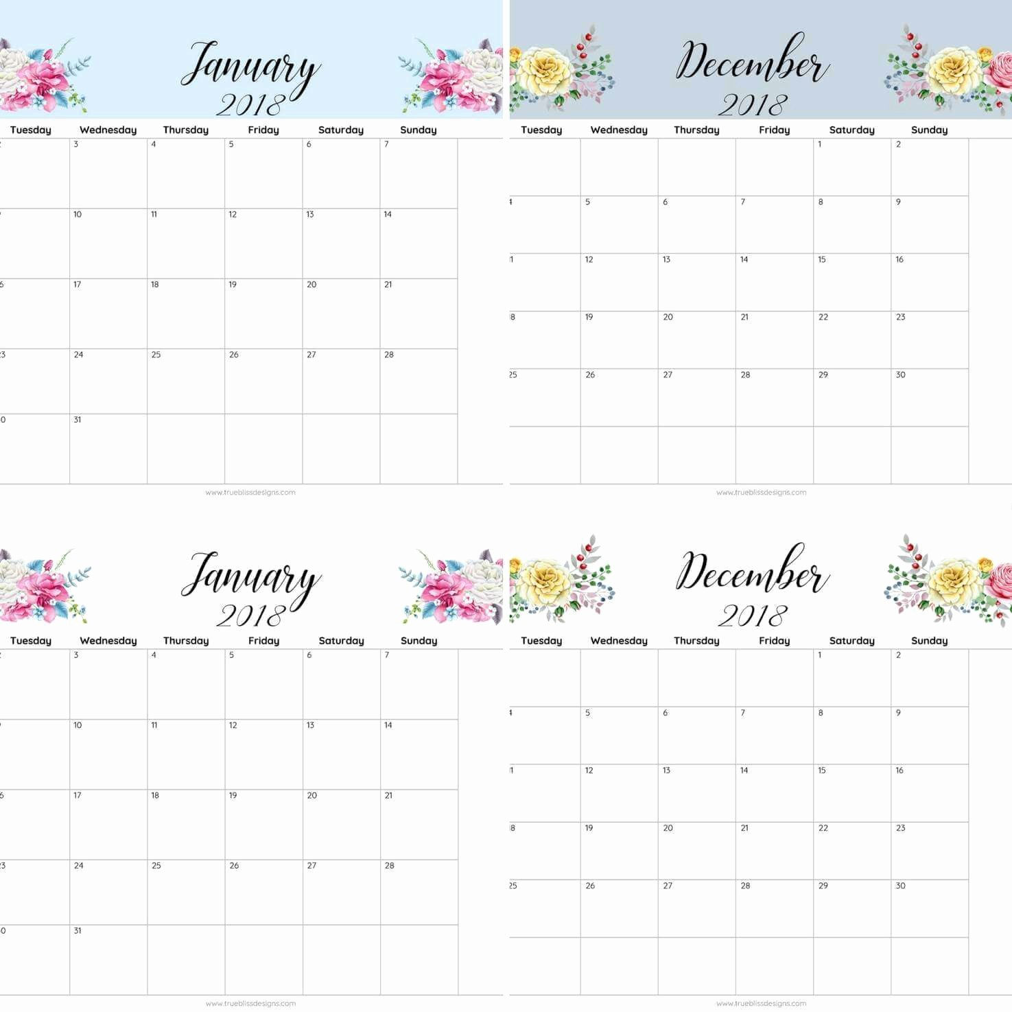 Free 2018 Monthly Calendar Template Awesome 2018 Floral Printable Monthly Calendar True Bliss Designs