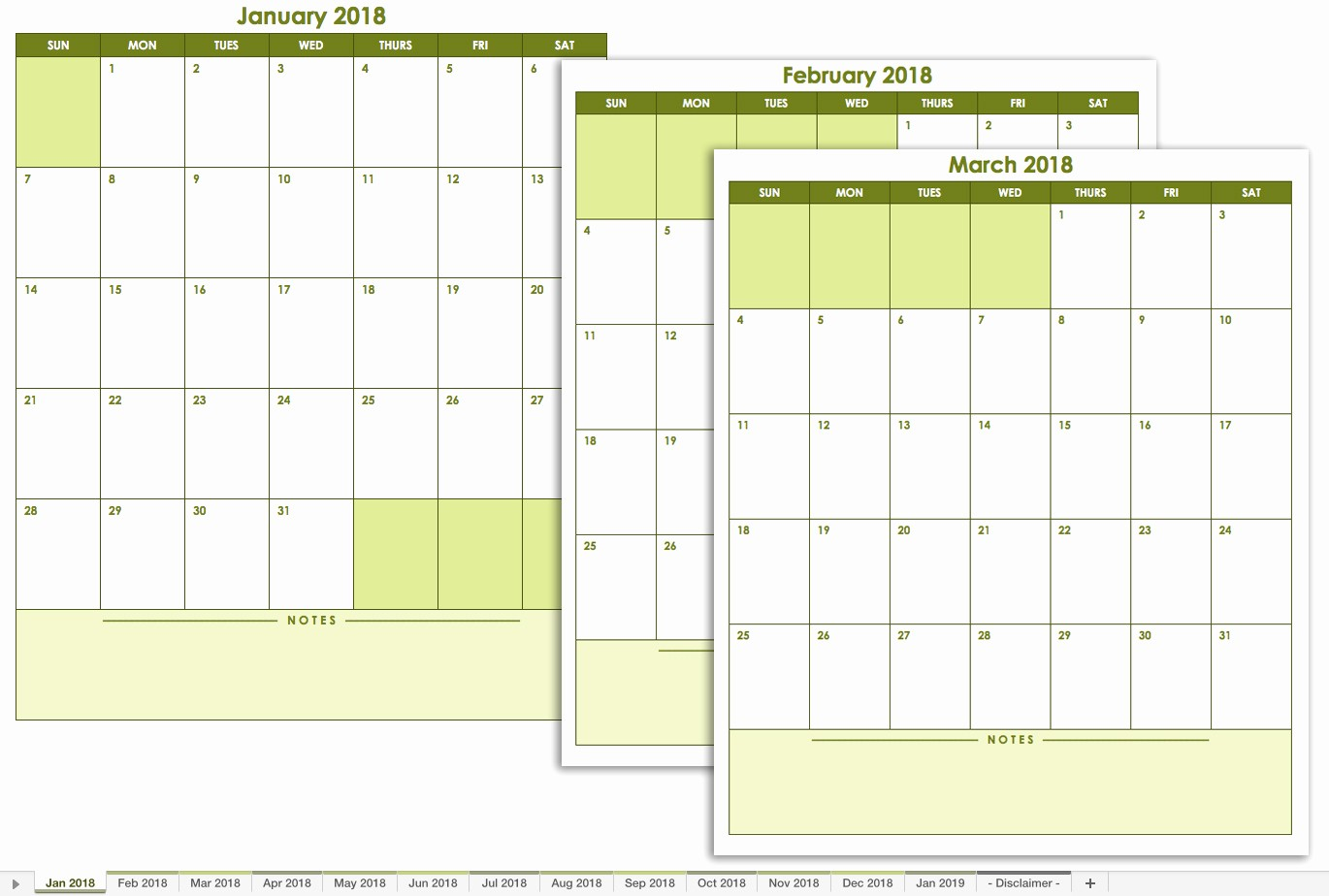 Free 2018 Monthly Calendar Template Awesome Free Excel Calendar Templates