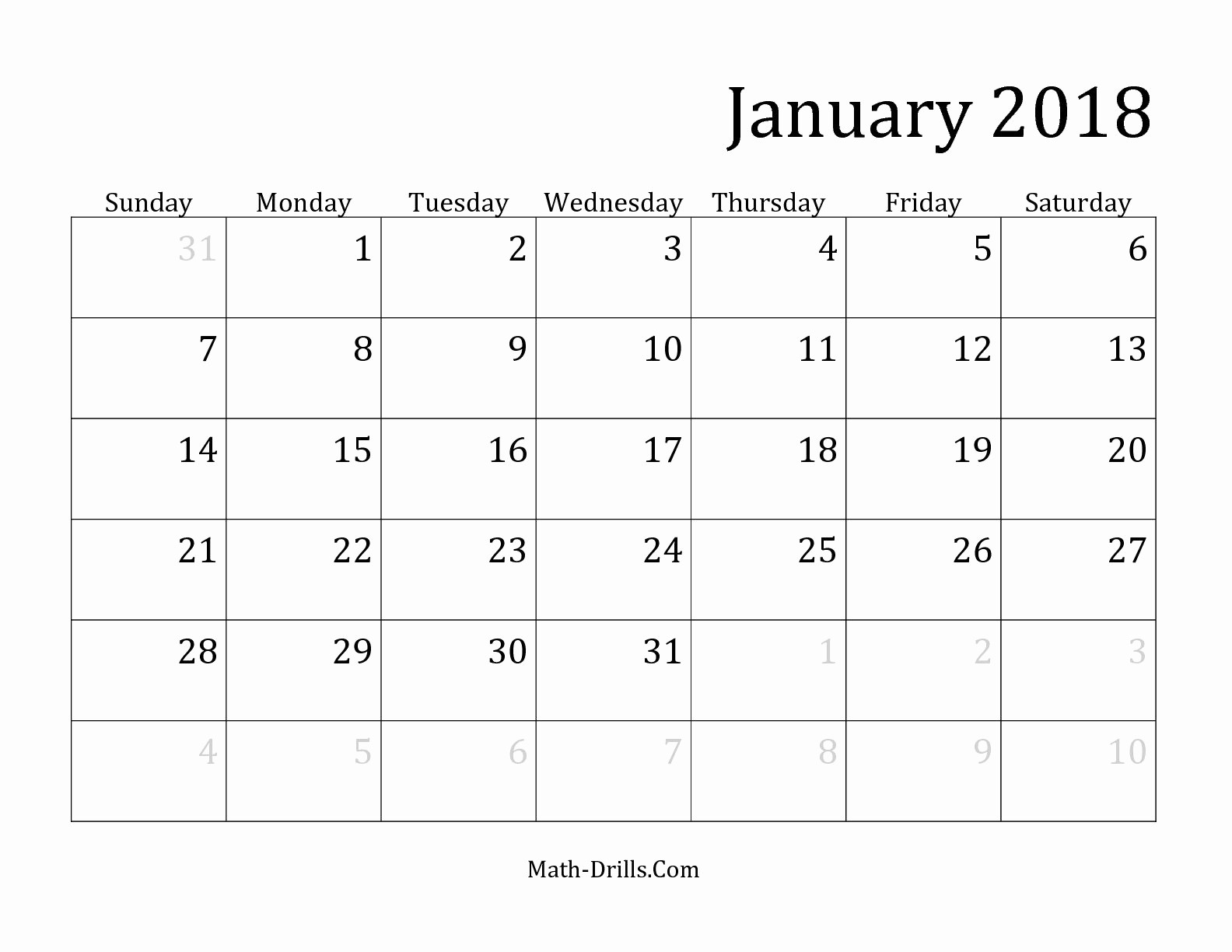 Free 2018 Monthly Calendar Template Beautiful 2018 Monthly Calendar Template