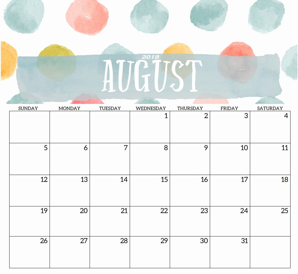 Free 2018 Monthly Calendar Template Beautiful Blank Templates Monthly 2018