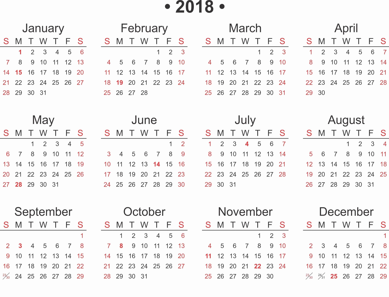 Free 2018 Monthly Calendar Template Beautiful Free Printable 2018 Calendar Template Word Excel