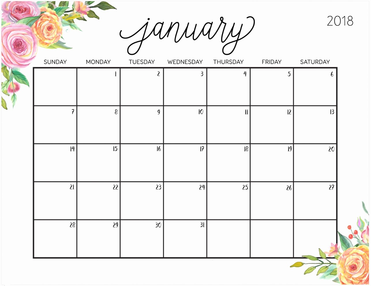 Free 2018 Monthly Calendar Template Beautiful Free Printable 2018 Calendar with Weekly Planner