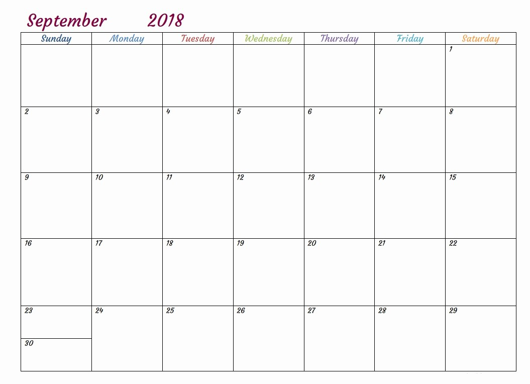 Free 2018 Monthly Calendar Template Beautiful Free Printable 2018 Monthly Usa Calendar