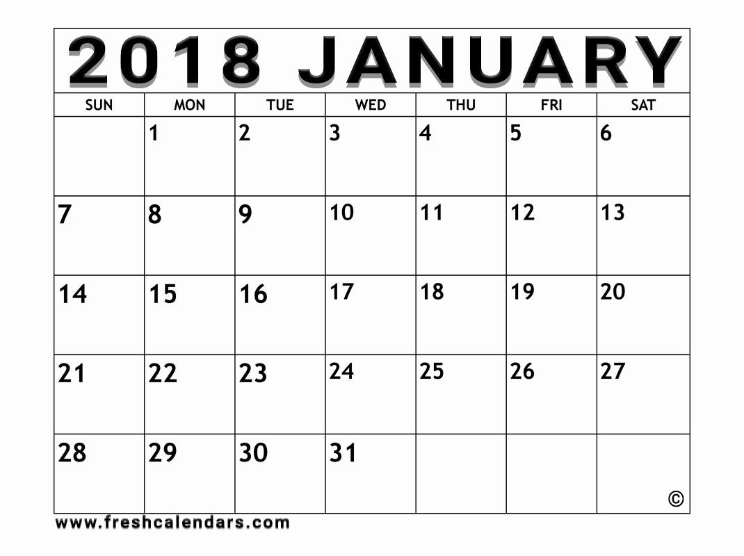Free 2018 Monthly Calendar Template Best Of Blank January 2018 Calendar Printable Templates