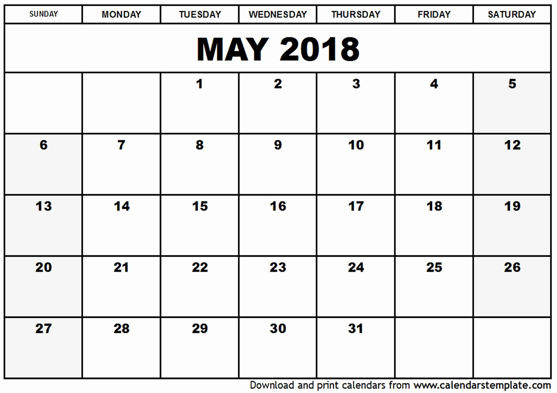 Free 2018 Monthly Calendar Template Best Of May 2018 Calendar Template
