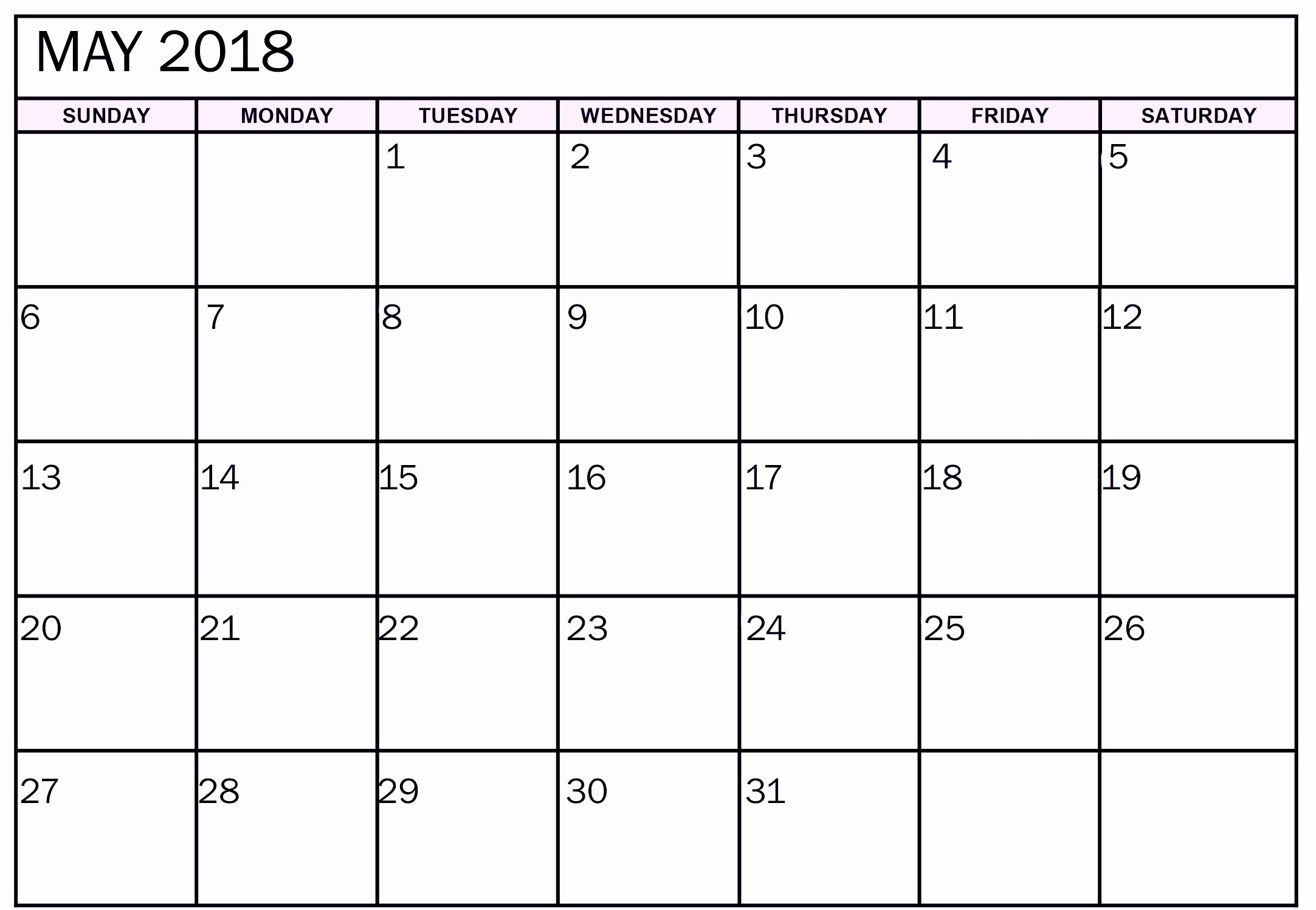 Free 2018 Monthly Calendar Template Best Of May 2018 Monthly Calendar Printable