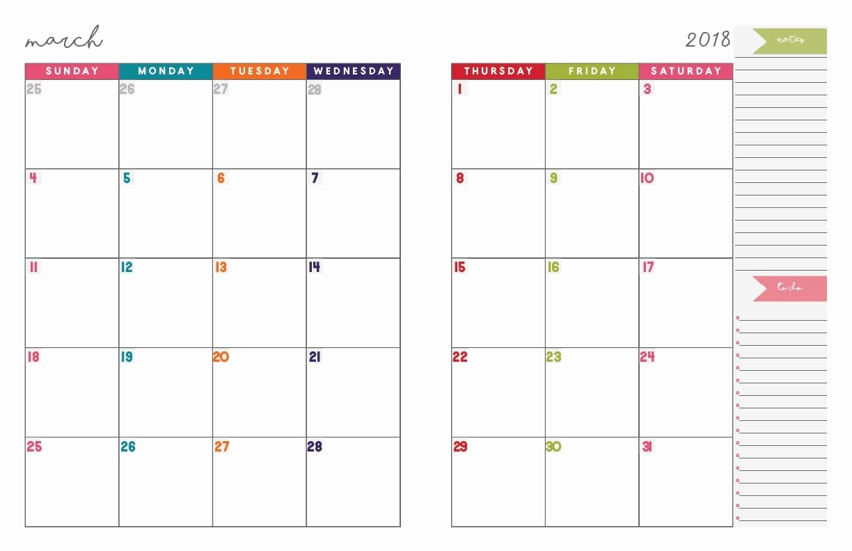 Free 2018 Monthly Calendar Template Elegant 2 Page Monthly Planner Template