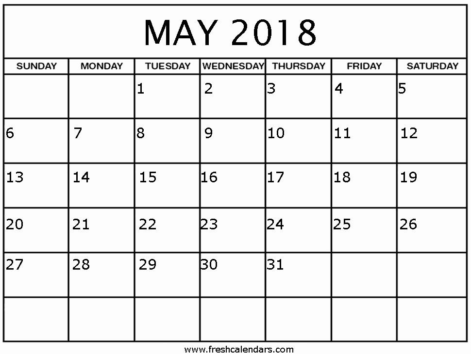 Free 2018 Monthly Calendar Template Elegant Free 5 May 2018 Calendar Printable Template Pdf source