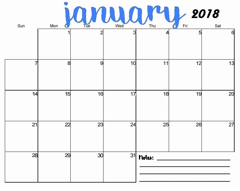 Free 2018 Monthly Calendar Template Elegant Free Printable Blank Monthly Calendar 2018