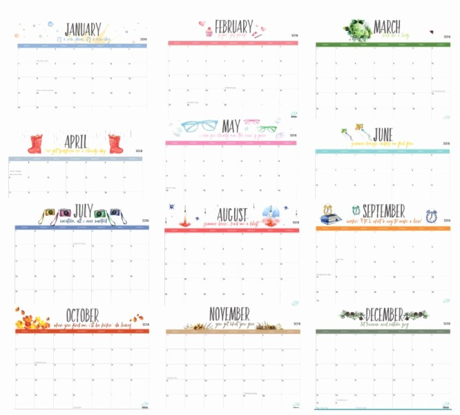 Free 2018 Monthly Calendar Template Fresh Free Printable 2018 Monthly Calendar