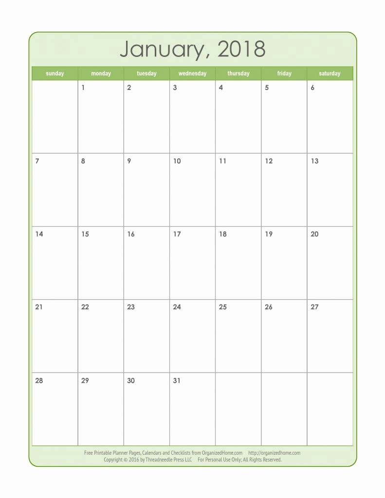 Free 2018 Monthly Calendar Template Fresh Printable Calendar 2018 Monthly