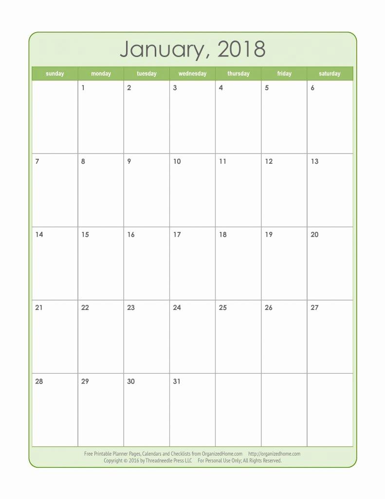 Free 2018 Monthly Calendar Template Fresh Printable Calendar 2018 Monthly