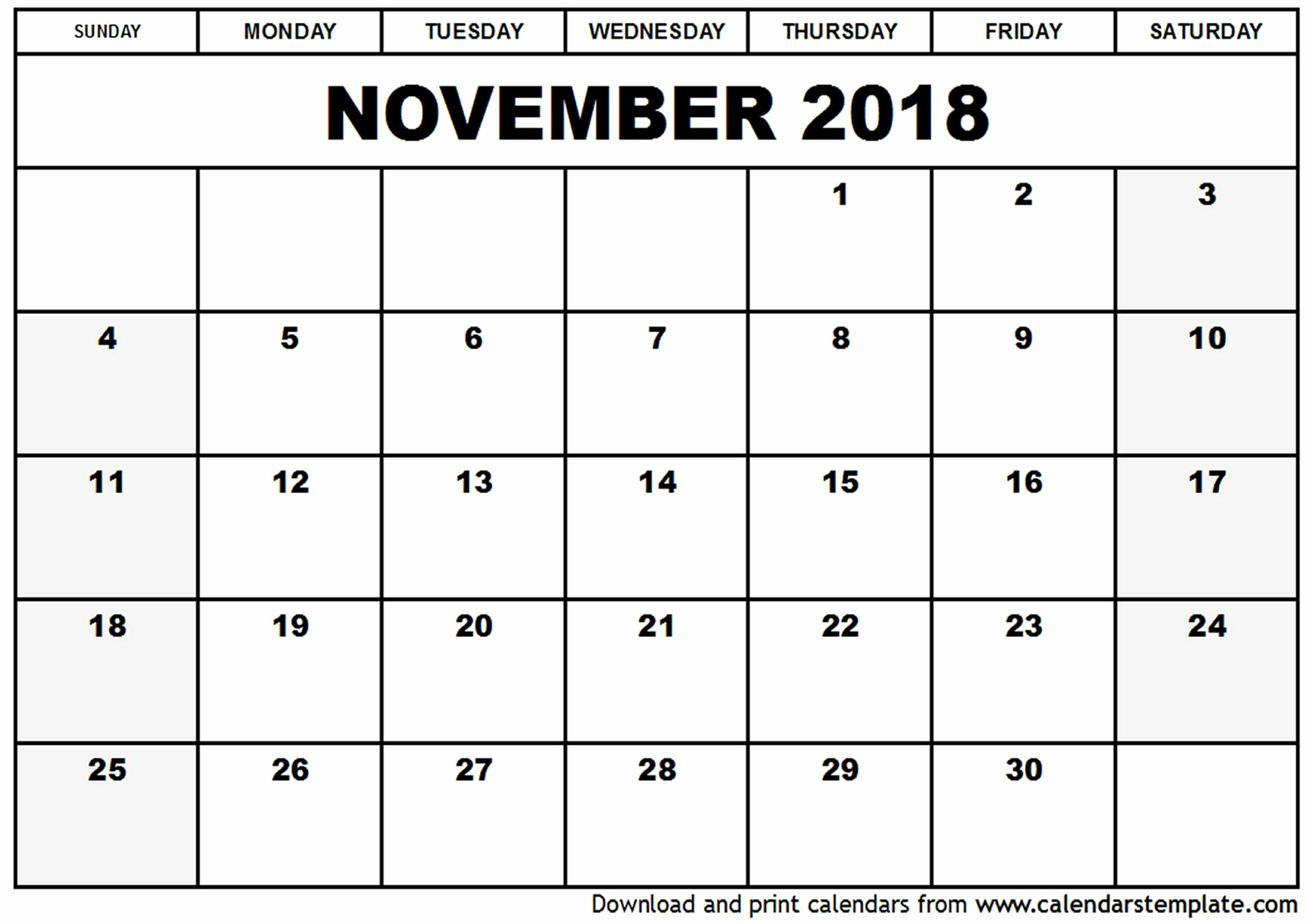 Free 2018 Monthly Calendar Template Lovely 2018 Monthly Calendars Printable 15 Free