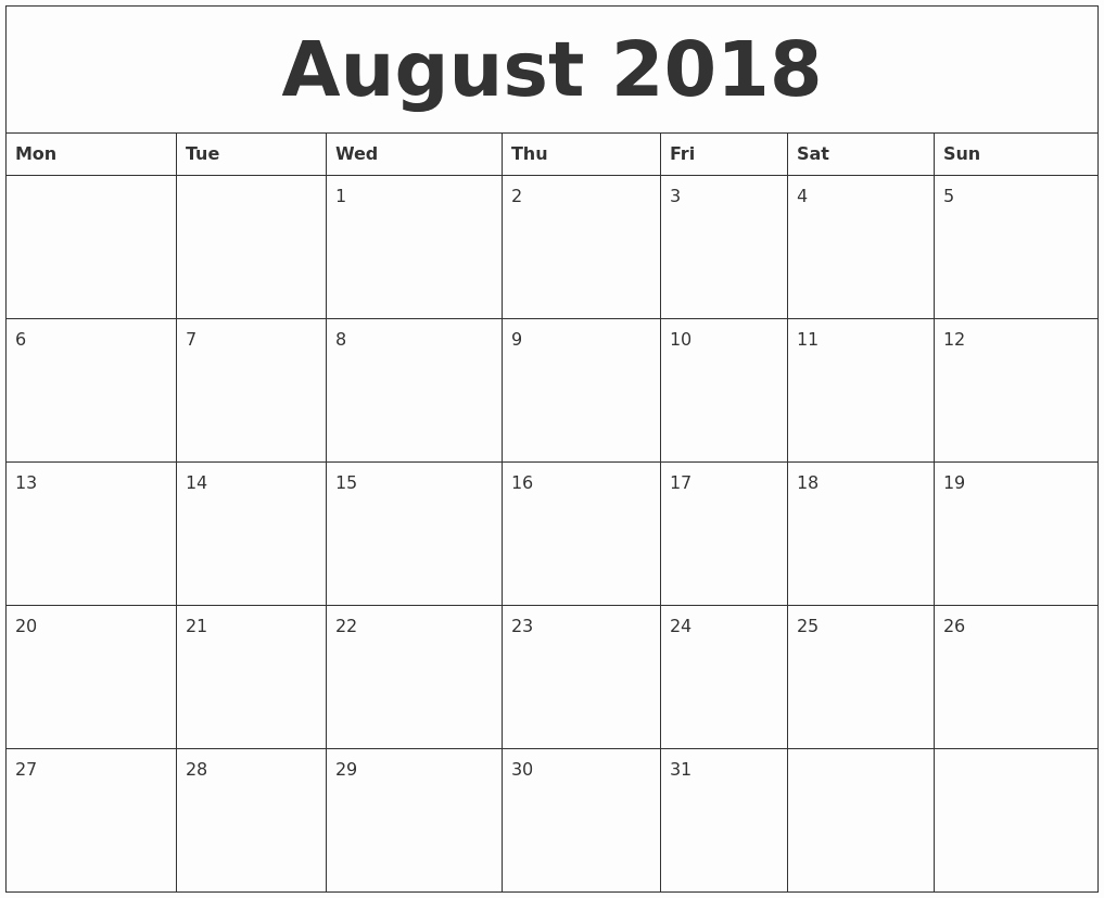 Free 2018 Monthly Calendar Template Lovely August 2018 Free Printable Monthly Calendar