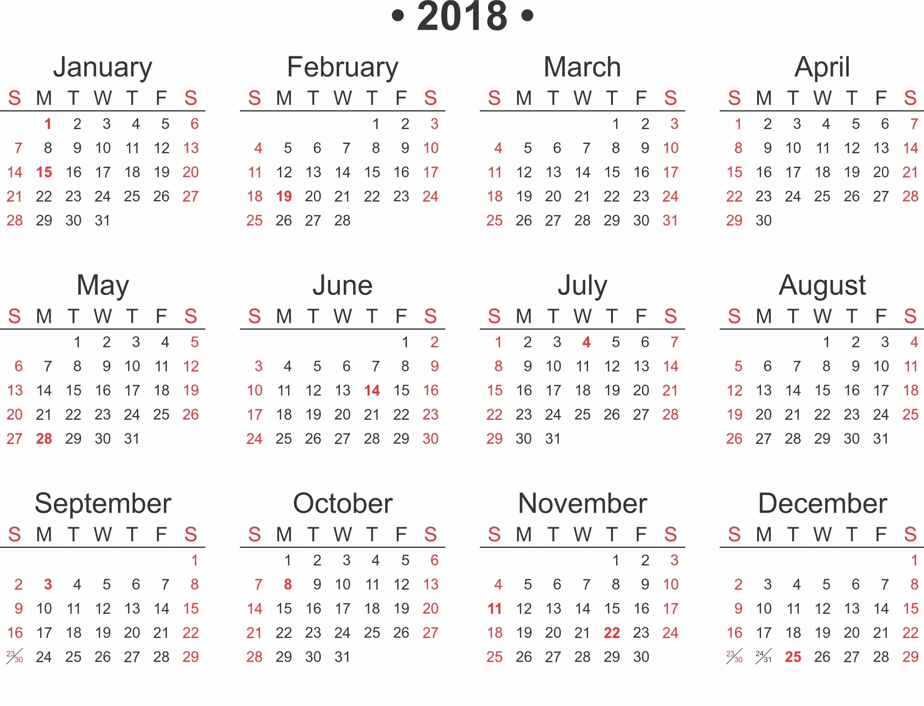 Free 2018 Monthly Calendar Template Lovely Free Printable 2018 Calendar Template Word Excel