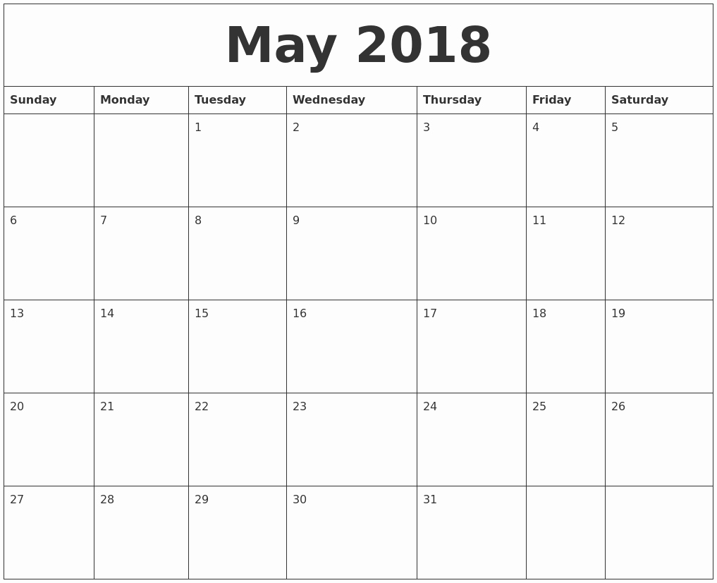 Free 2018 Monthly Calendar Template Lovely May 2018 Free Printable Monthly Calendar