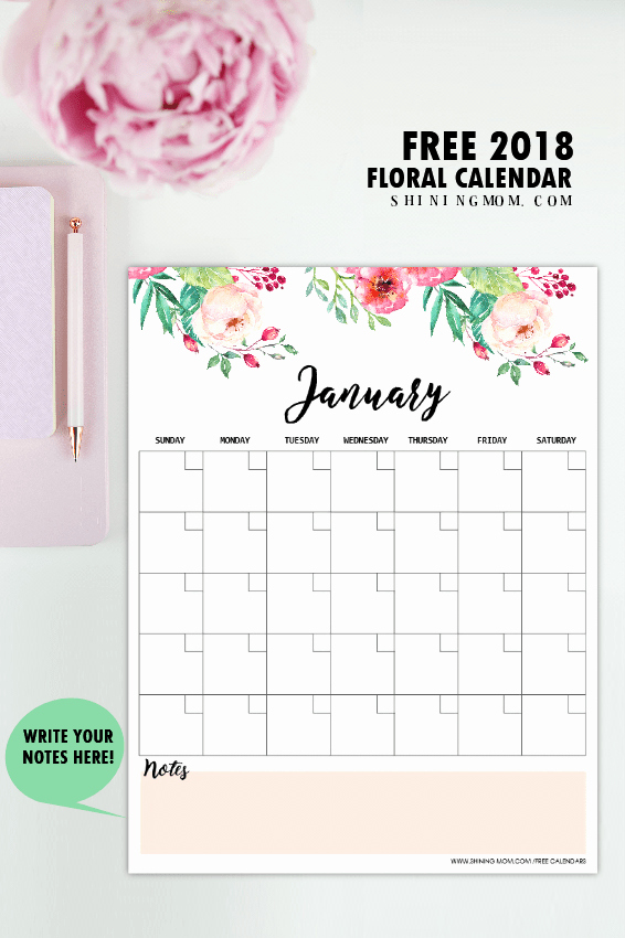 Free 2018 Monthly Calendar Template Luxury Free Printable 2018 Monthly Calendar and Planner