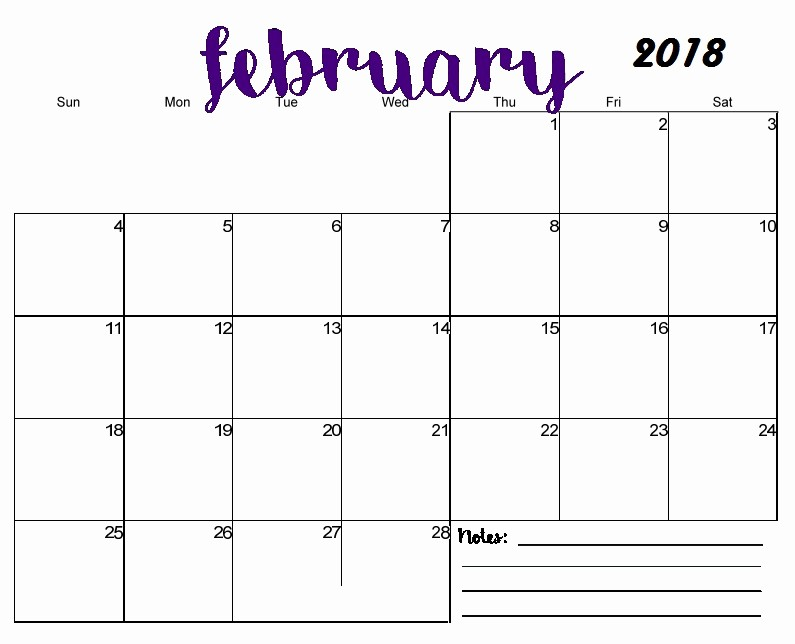 Free 2018 Monthly Calendar Template Luxury Free Printable Blank Monthly Calendar 2018
