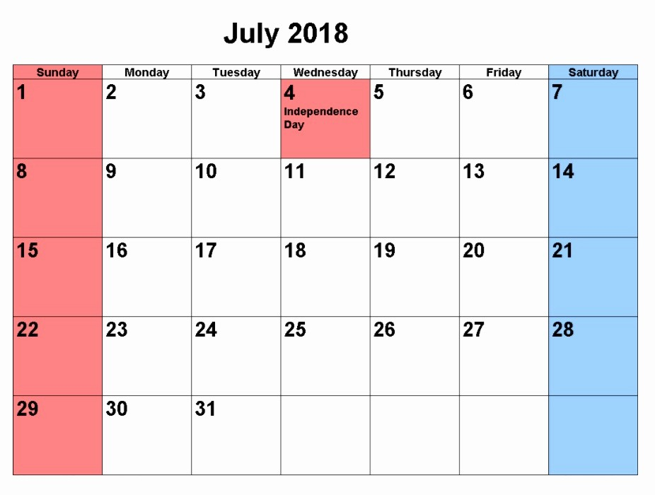 Free 2018 Monthly Calendar Template New 2018 Printable Monthly Calendar