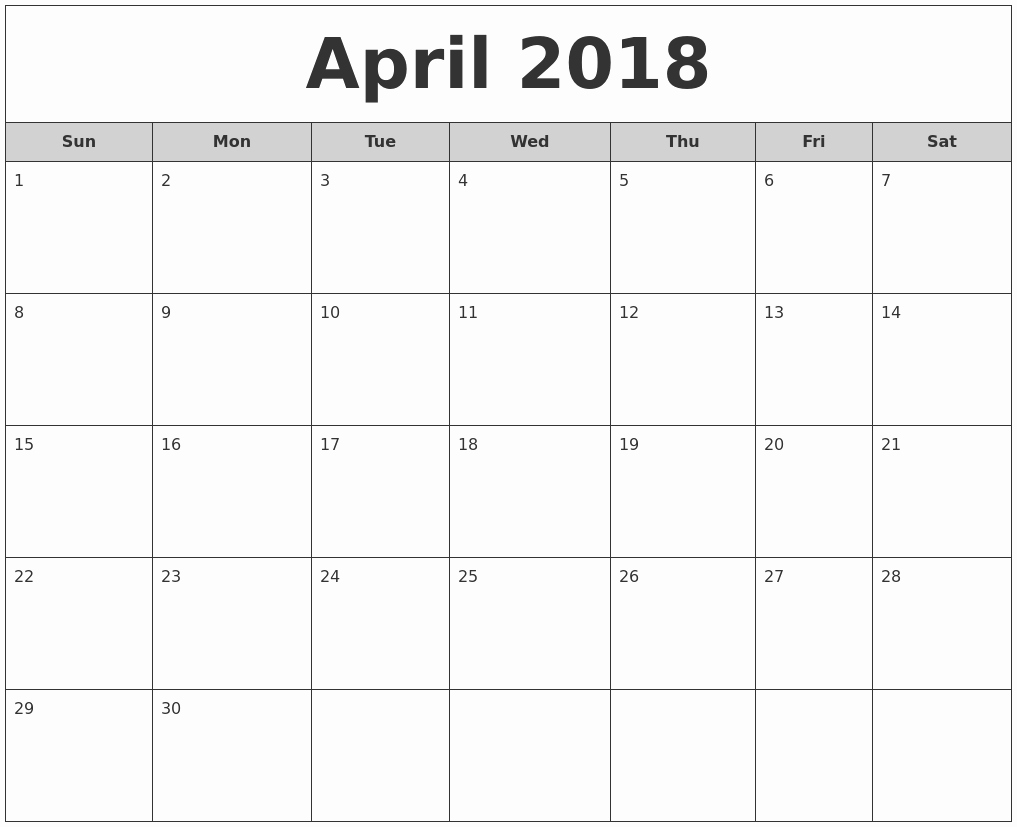 Free 2018 Monthly Calendar Template New April 2018 Free Monthly Calendar