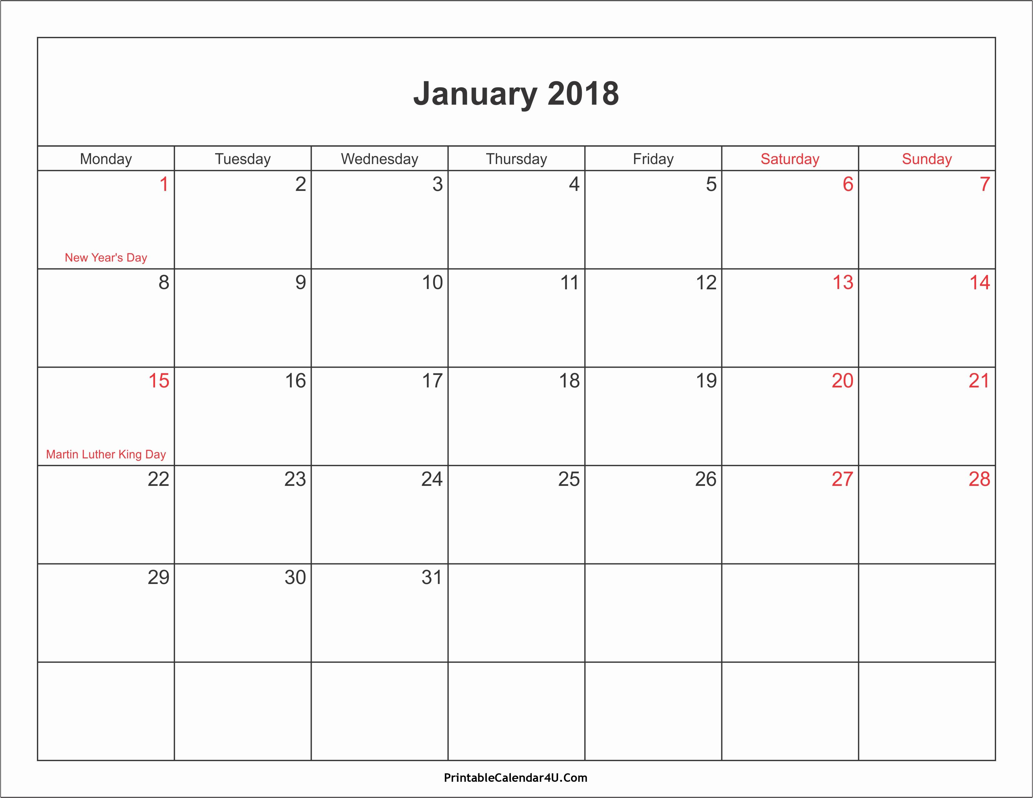 Free 2018 Monthly Calendar Template New January 2018 Calendar Pdf