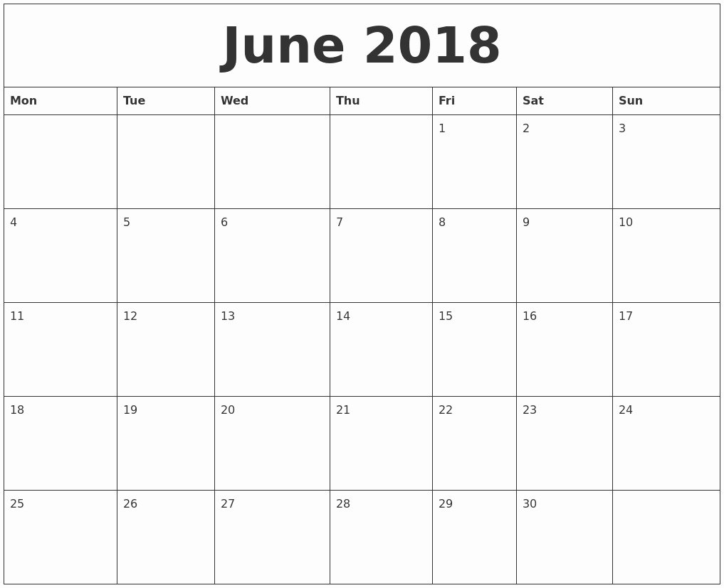 Free 2018 Monthly Calendar Template New June 2018 Free Printable Monthly Calendar