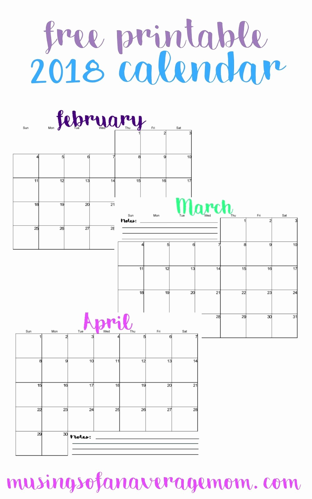 Free 2018 Monthly Calendar Template New Musings Of An Average Mom 2018 Horizontal Calendars