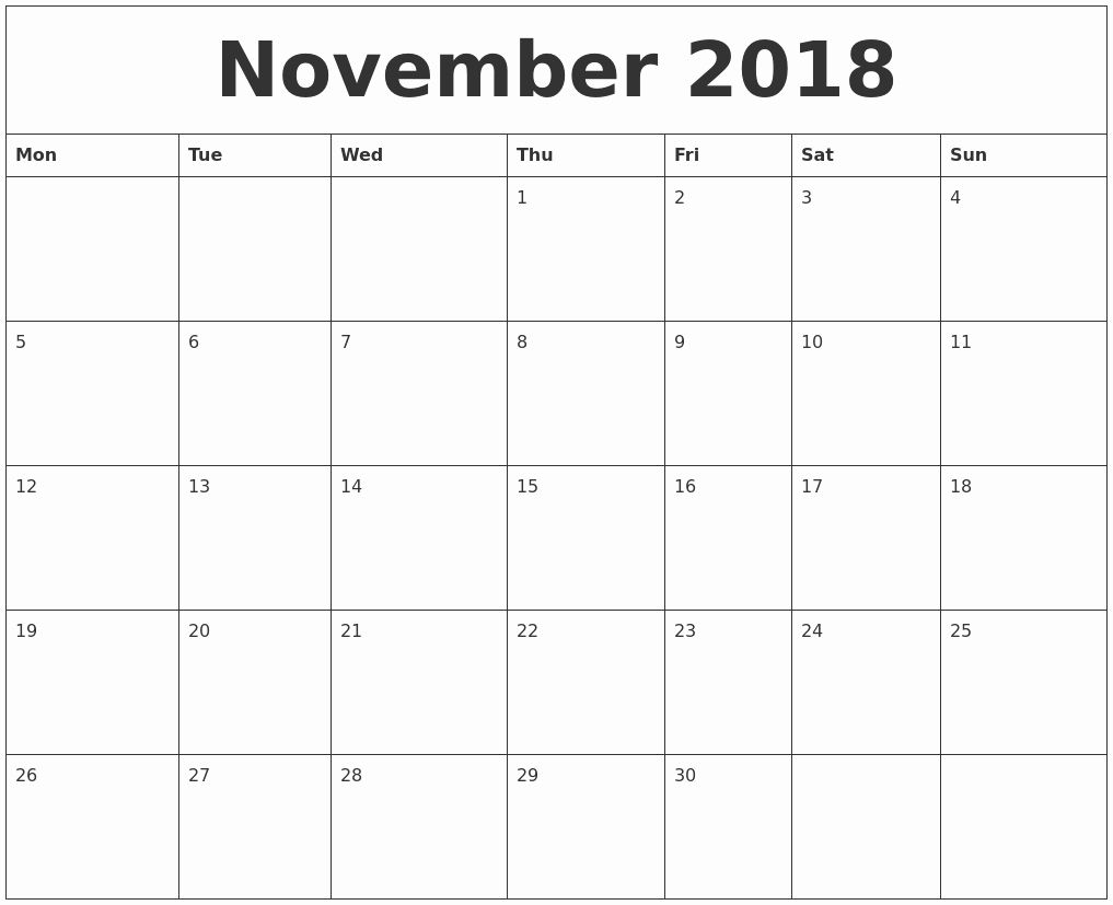 Free 2018 Monthly Calendar Template New November 2018 Free Printable Monthly Calendar