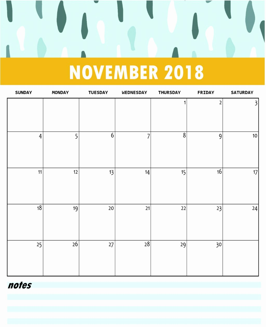 Free 2018 Monthly Calendar Template Unique Cute Free Monthly Printable Calendar 2018