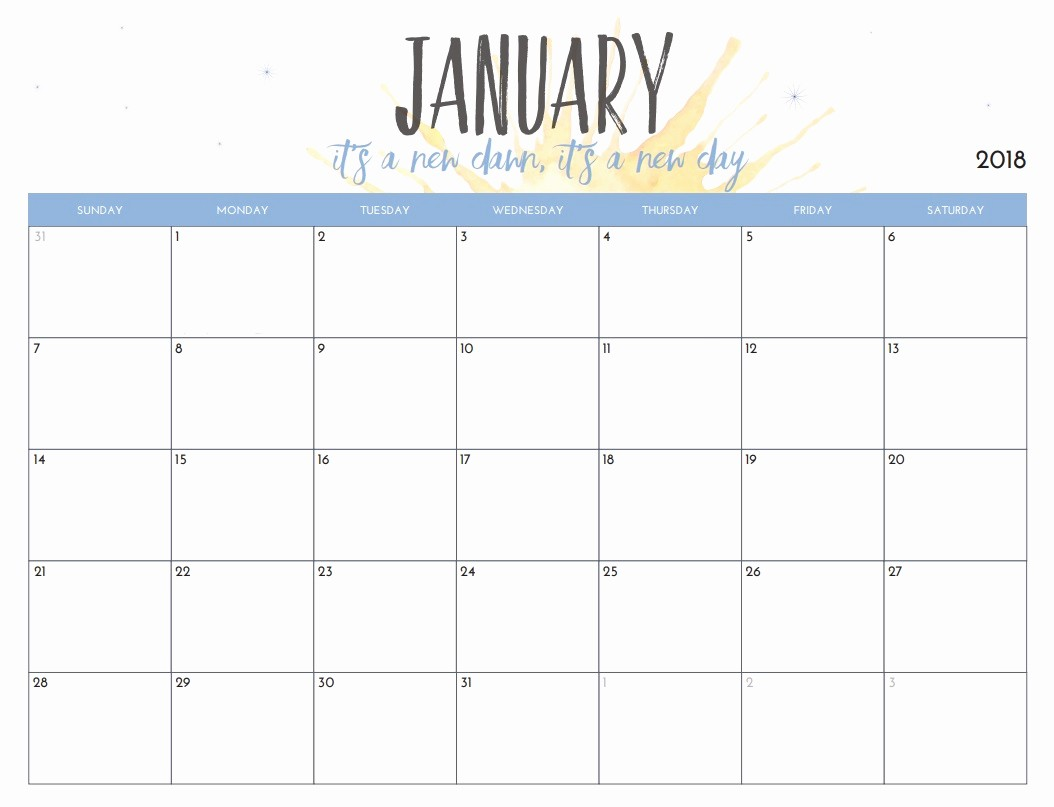 Free 2018 Monthly Calendar Template Unique Free Printable 2018 Monthly Calendar