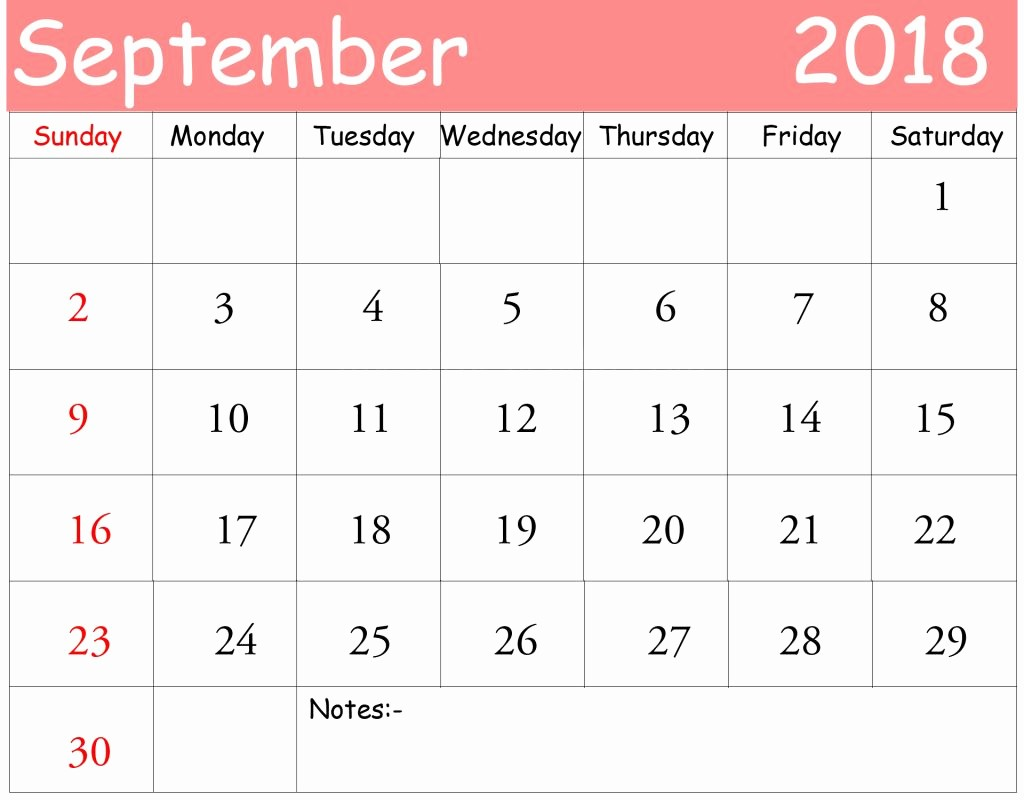 Free 2018 Monthly Calendar Template Unique September 2018 Calendar Pdf