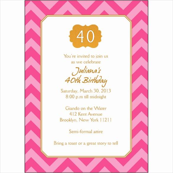 Free 40th Birthday Invitations Templates Awesome 40th Birthday Party Invitation – orderecigsjuicefo
