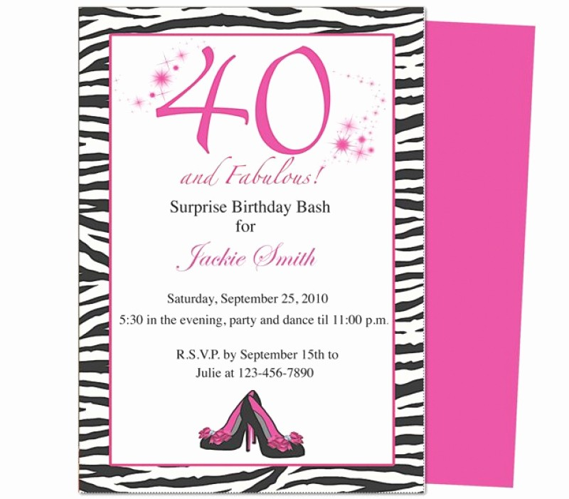 Free 40th Birthday Invitations Templates Awesome Template for 40 Th Birthday Invitation – orderecigsjuicefo