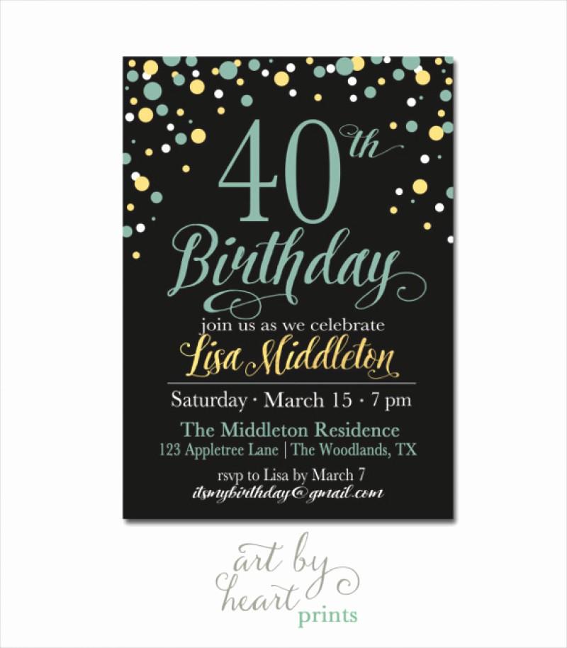 Free 40th Birthday Invitations Templates Beautiful 40 Birthday Invitation Template – orderecigsjuicefo