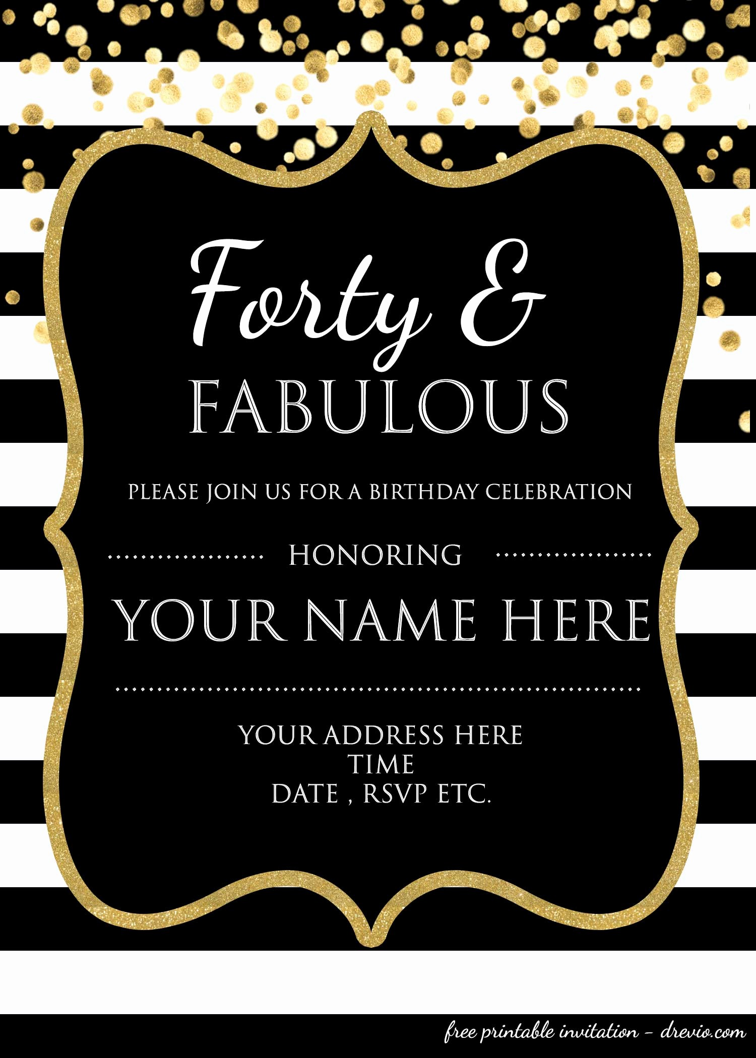 Free 40th Birthday Invitations Templates Beautiful forty & Fabulous 40th Birthday Invitation Template – Psd