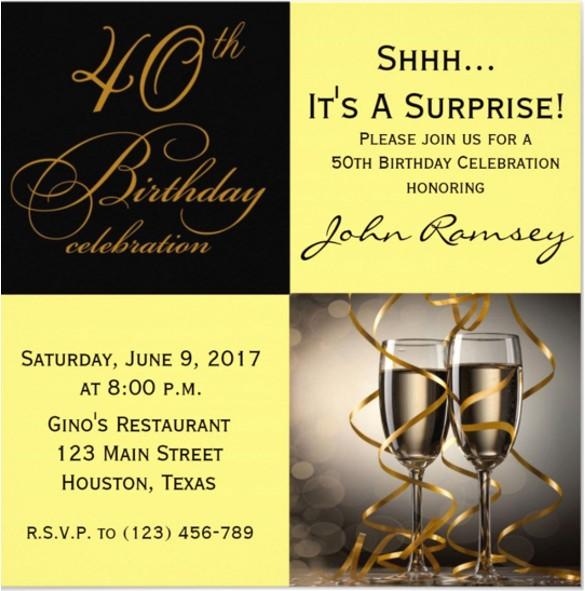 Free 40th Birthday Invitations Templates Best Of 14 Surprise Birthday Invitations Free Psd Vector Eps
