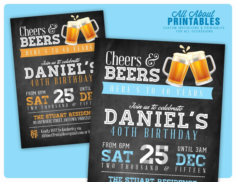 Free 40th Birthday Invitations Templates Best Of 40th Birthday Invitation for Men Cheers & Beers Invitation