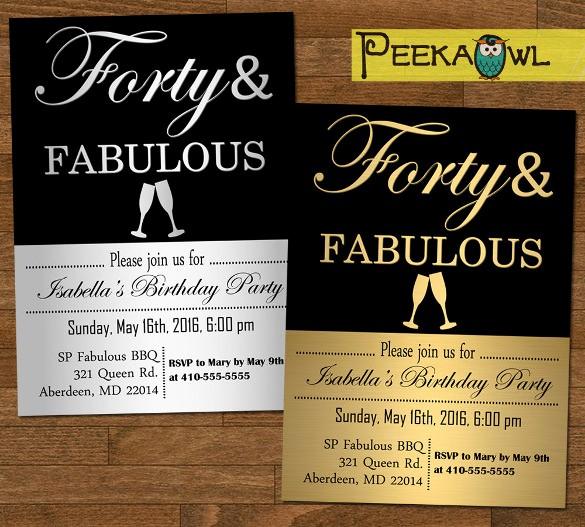 Free 40th Birthday Invitations Templates Fresh 16 40th Birthday Invitations Psd Vector Eps Ai