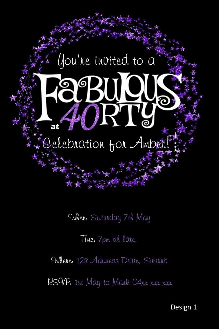 Free 40th Birthday Invitations Templates Fresh 40th Birthday Invitation Purple Glitter Invitation You