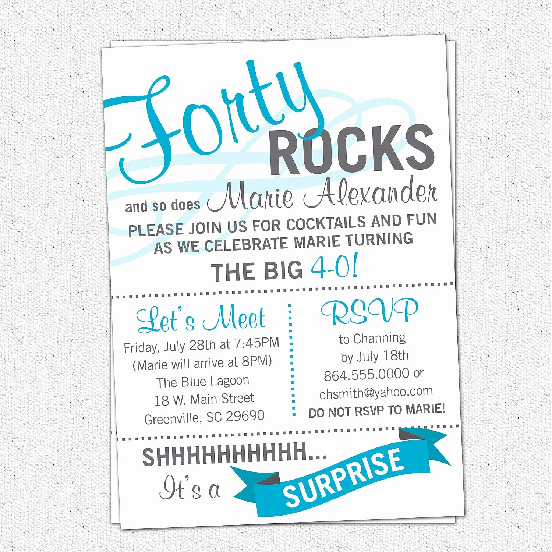 Free 40th Birthday Invitations Templates Fresh Surprise 40th Birthday Invitation Free Template