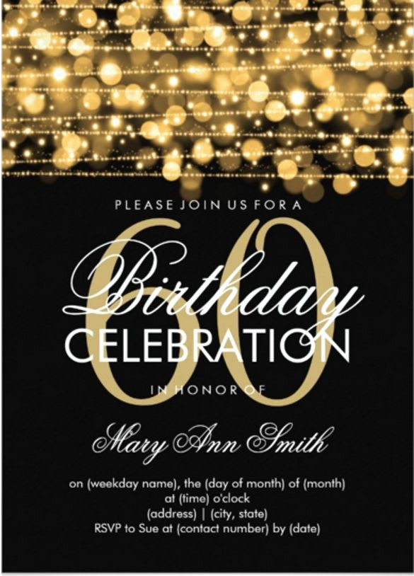 Free 40th Birthday Invitations Templates Inspirational 20 Awesome Free 60th Birthday Invitations Templates