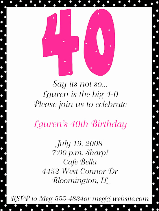 Free 40th Birthday Invitations Templates Inspirational 40th Birthday Party Invitation Wording