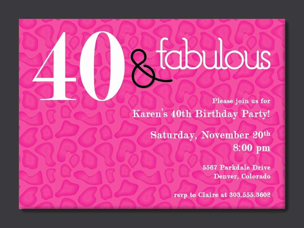 Free 40th Birthday Invitations Templates Lovely 40th Birthday Free Printable Invitation Template
