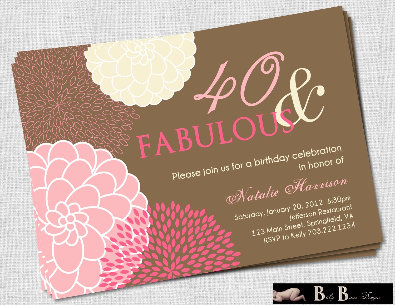 Free 40th Birthday Invitations Templates Lovely Free Printable 40th Birthday Invitations for Women