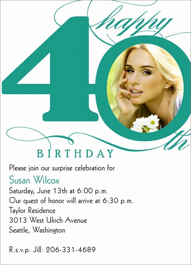 Free 40th Birthday Invitations Templates Luxury 40th Birthday Invitation Wording – Bagvania Free Printable