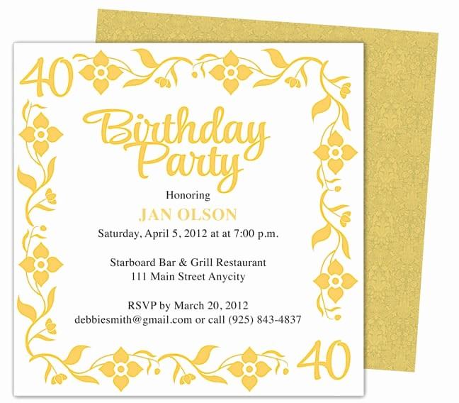 Free 40th Birthday Invitations Templates Luxury 40th Party Invitation Template Free