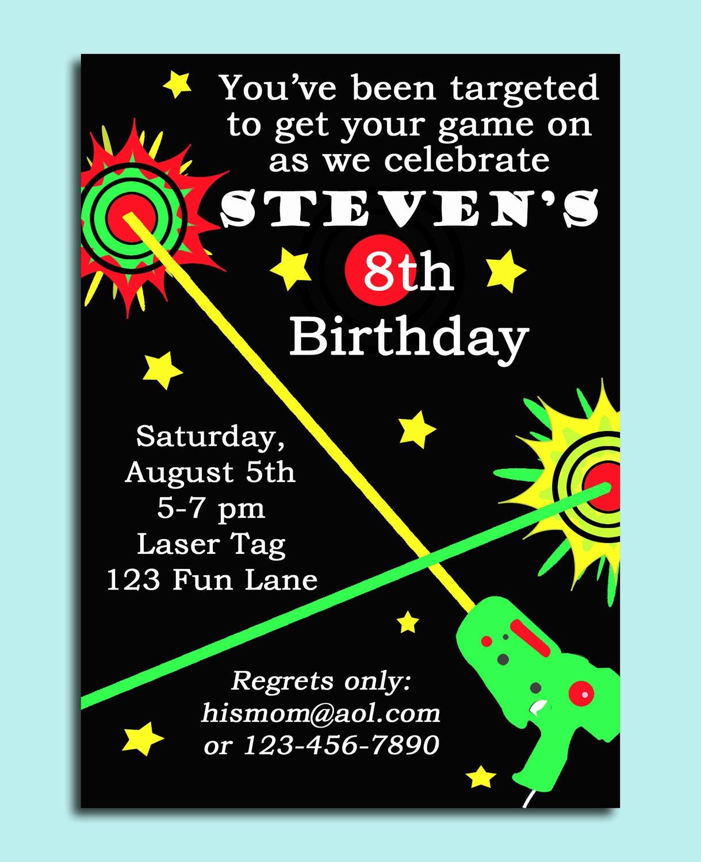 Free 40th Birthday Invitations Templates Luxury Laser Tag Birthday Invitation Templates Free