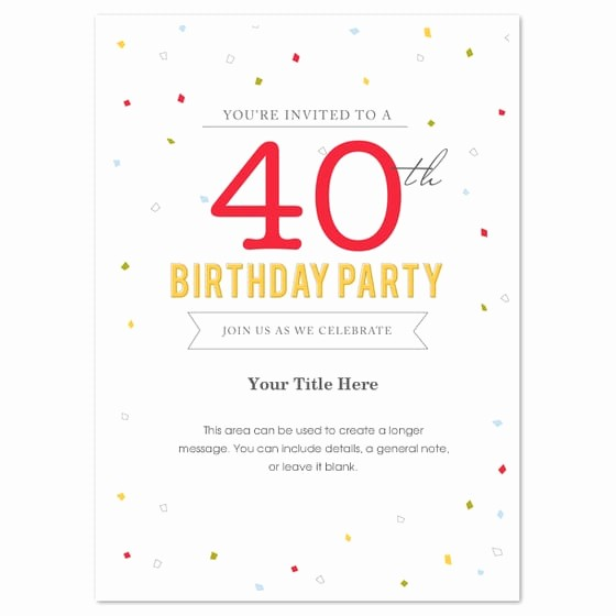 Free 40th Birthday Invitations Templates New 40th Birthday Invitation Template Word